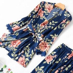 Image 3 - Fashionable Women Floral Lingerie Set Bath Robe+Cami+Shorts+Long Pants 4Pcs Pajama Set Silk Pyjamas Sleepwear Sexy Home Clothes
