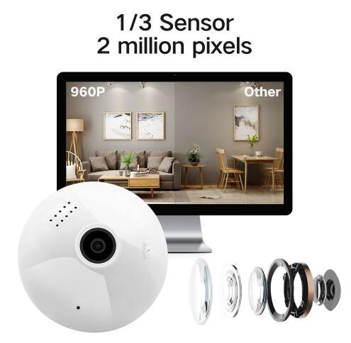 1080 P лампочки Беспроводной IP Камера 3,0 МП 360 градусов панорамный FishEye видеонаблюдения Камера Wi Fi P2P обнаружения движения IP Камера - 4