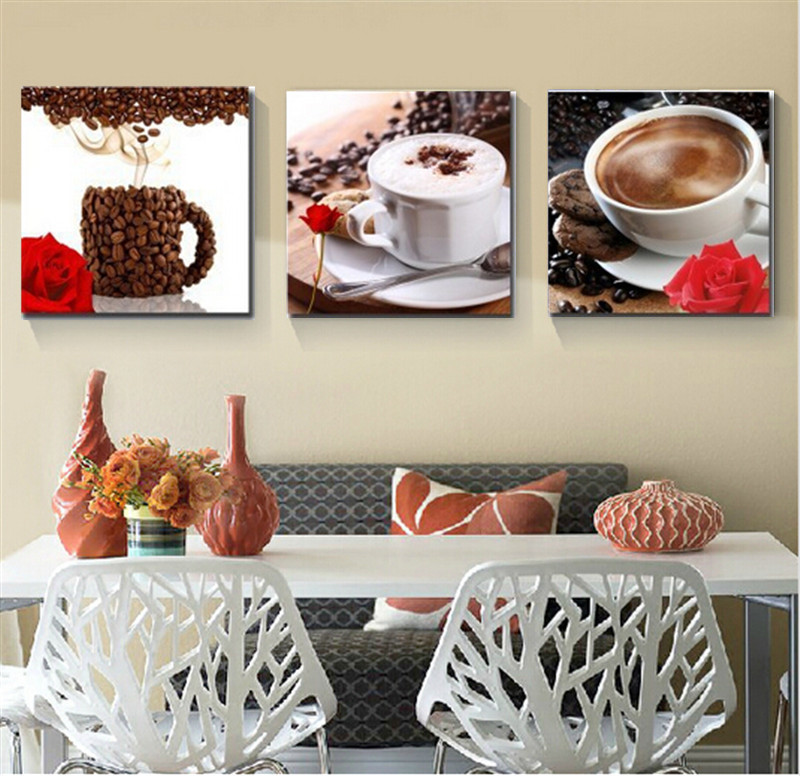 2015 new 3 panel abstract printed coffee life wall for Best brand of paint for kitchen cabinets with abstract panel wall art