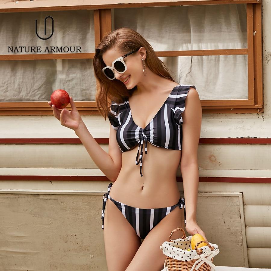 NATURE ARMOUR Sexy Bikinis swimwear women stripe Swimsuit Push Up Beach Wear Bathing Suits 2018 New Dot swimming suit for women sexy crew neck hollow midriff baring stripe suits