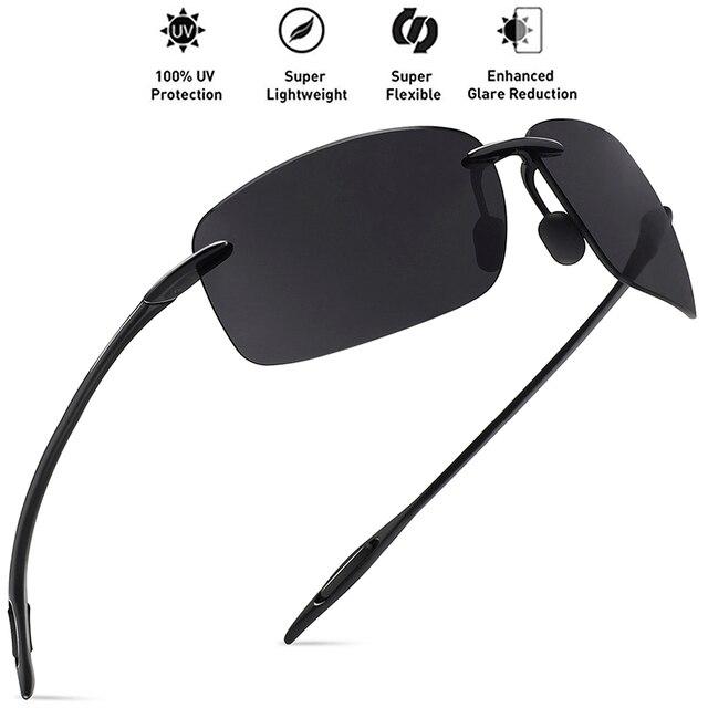 8f194808c7 JULI Classic Sports Sunglasses Men Women Male Driving Golf Rectangle  Rimless Ultralight Frame Sun Glasses UV400 De Sol MJ8009