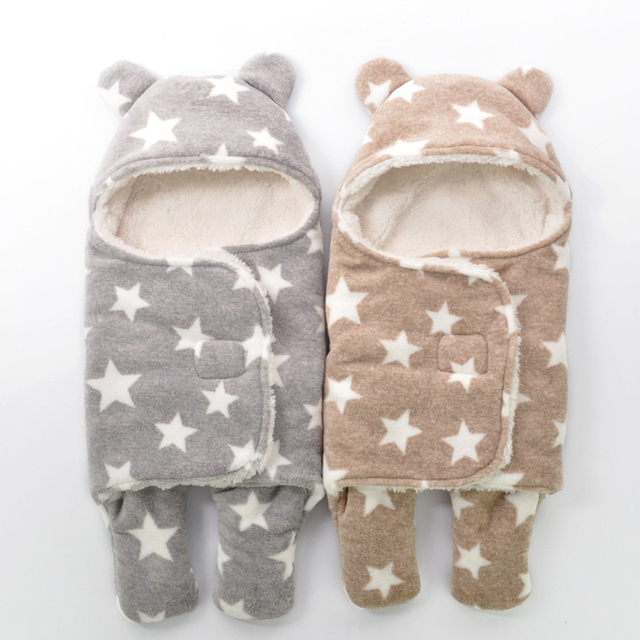 Winter baby sleeping bags flannel newborn baby swaddle wrap cartoon thickening children sleeping bags straddle newborn infants