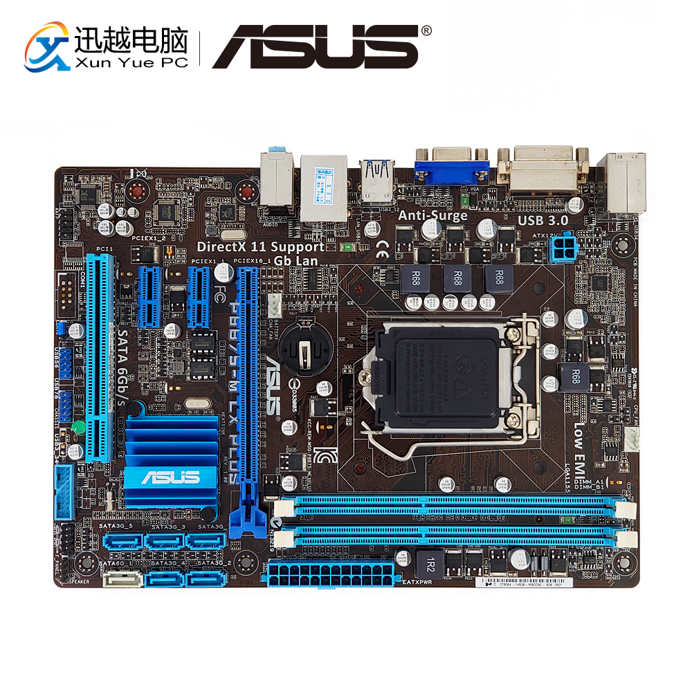 Asus P8B75-M LX PLUS Desktop Motherboard B75 Socket LGA 1155 i3 i5 i7 DDR3 16G SATA3 USB3.0 VGA DVI Micro ATX asus p5g41t m lx3 plus motherboard lga 775 ddr3 8gb for intel g41 p5g41t m lx3 plus desktop mainboard systemboard sata ii used