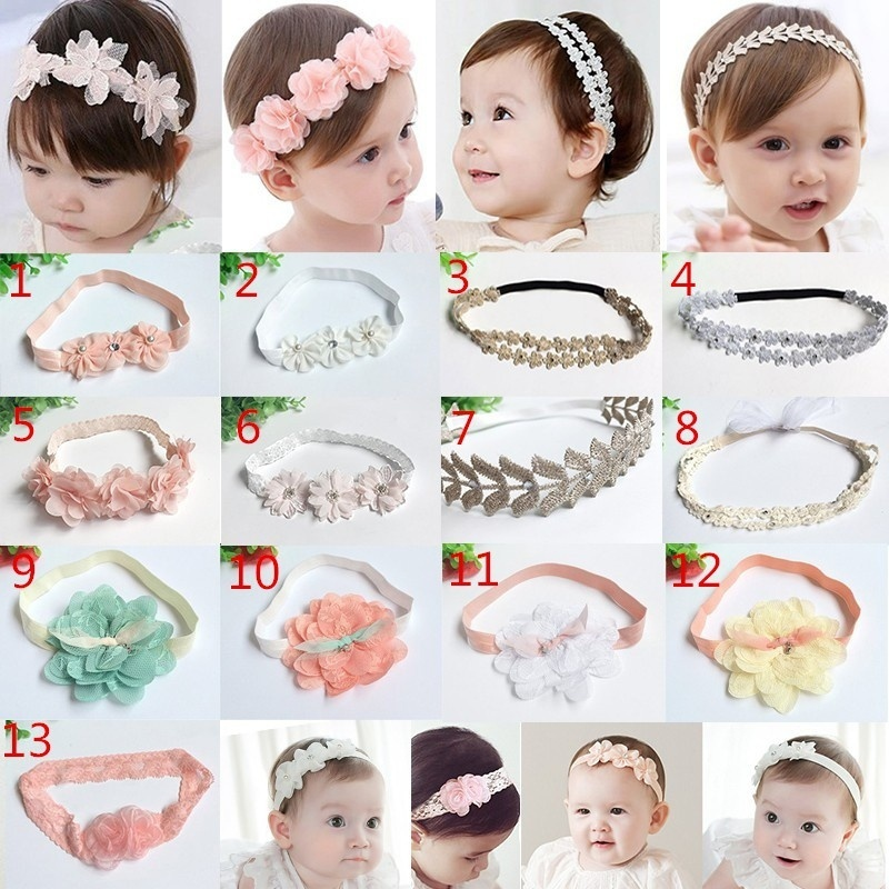 Baby Girls Flower Headband Headwear Hair Band Infant Children Hair Ornament Hair Accessories bebe girls flower headband four felt rose flowers head band elastic hairbands rainbow headwear hair accessories