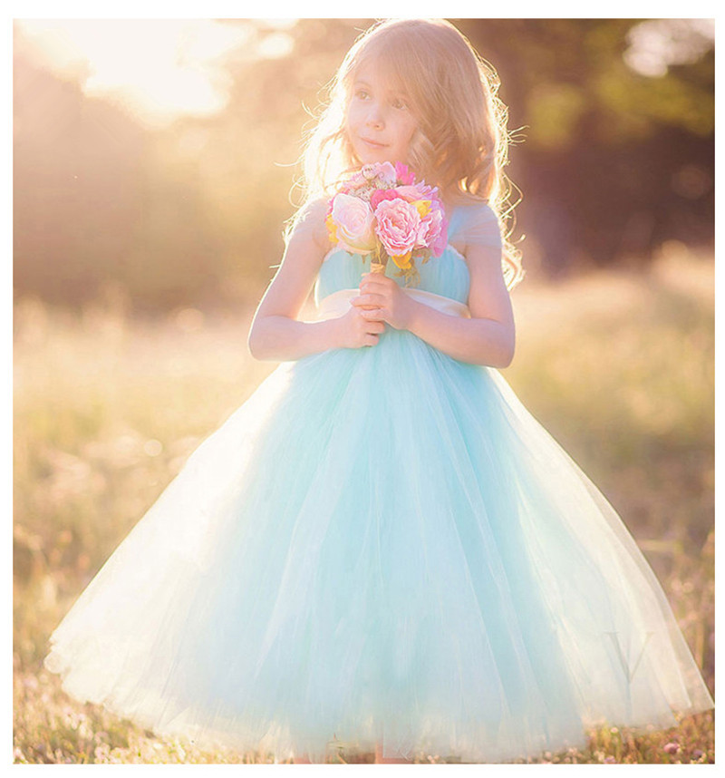 Robes de fille de fleur blanc/ivoire vraie fête Pageant robes de première communion pour les filles enfants enfants robe pour mariage