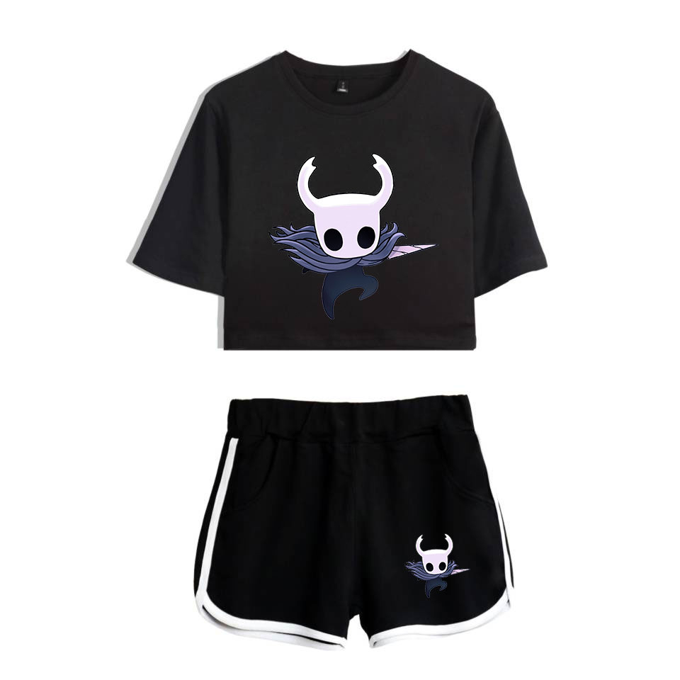 2019 Hollow Knight Fashion Women Two Piece Sets Summer Short Sleeve Crop Top+Shorts Hot Sale Casual Trendy Streetwear Clothes