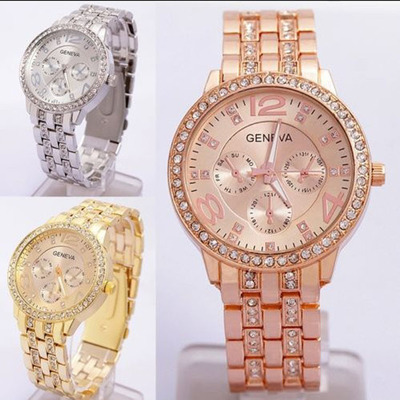 цены на New Fashion Brand Watch Women Geneva Watches Stainless Steel Quartz Watch Ladies Crystal Casual Analog Watches Relogio Feminino