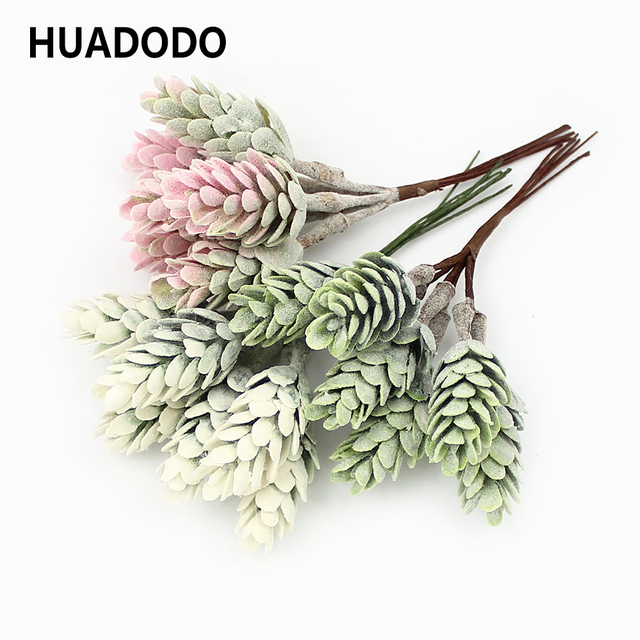 HUADODO 6 pcs Mini Abacaxi Grama Plantas Artificiais Flores Artificiais para Decoração Artesanal recados DIY Coroa de Flores Plantas Falsas