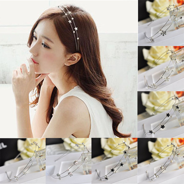 0b107fba1fe 1PC Crystal Rhinestone Pearl Flowers Headband Hair Wedding Headware  Accessories Fashion Women Head Piece Hair Band