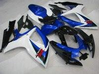 Настроить для Suzuki gsx r 600 обтекатели GSXR 750 обтекатель комплект Обтекатели 2006 2007 06 07 синий белый обтекатели