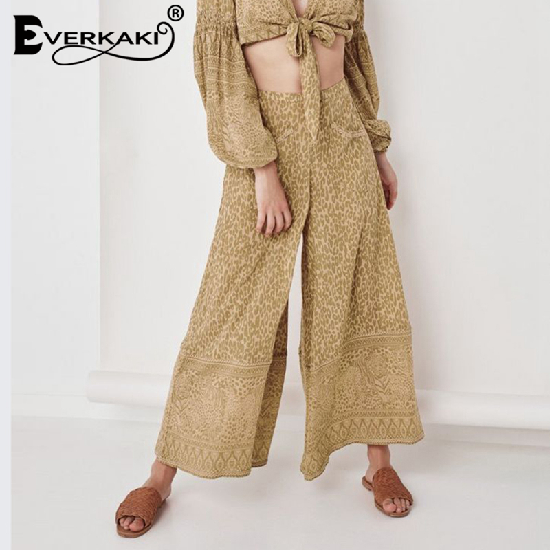 Everkaki Leopard   Wide     Leg     Pants   Women High Waist Bohemian   Pants   With Pocket Boho Elastic Waist Women Trousers 2019