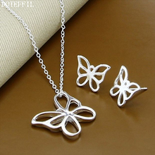 Butterfly 925 Sterling Silver Women Necklace Earrings Fashion Charm Necklace Earrings Jewelry Set Free Ship