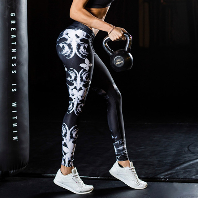 Butterfly Print Fitness High Elastic Leggings