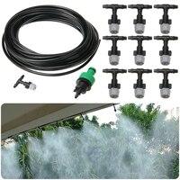 10m Water Misting Cooling Irrigation System Sprinkler +10pc Nozzle Garden Garden Patio Waterring Irrigation Sprinklers