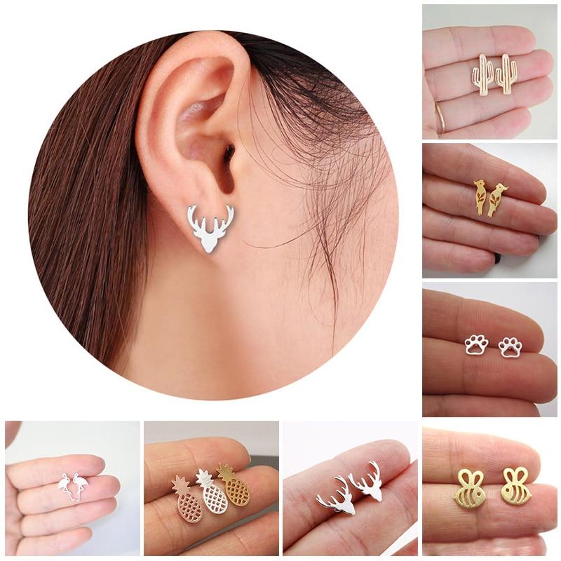 Women Gold/Silver Color Stainless Steel Cute Stud Earrings Girls Animal Pineapple Cactus Cat Earrings Minimalist Jewelry