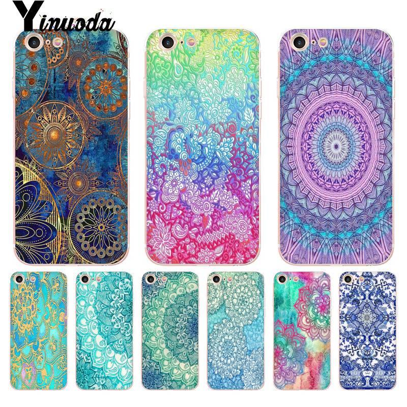 Yinuoda Sapphire Jade Stained Glass Mandalas DIY Painted Phone Accessories Case