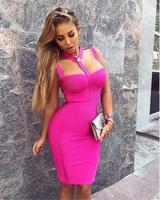 New Arrival Summer Style Sexy Cut Out Button Bandage Dress 2018 Celebrity Designer Fashion Dress Vestidos