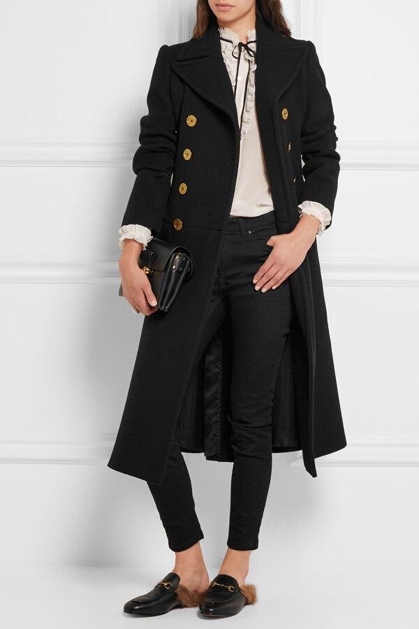 Boutonnage Femme Hiver Double Abrigos Manteau Royaume 2019 Automne Noir Mujer Long Mince uni Classique Femmes Laine Cranté En XOZlkwiTPu