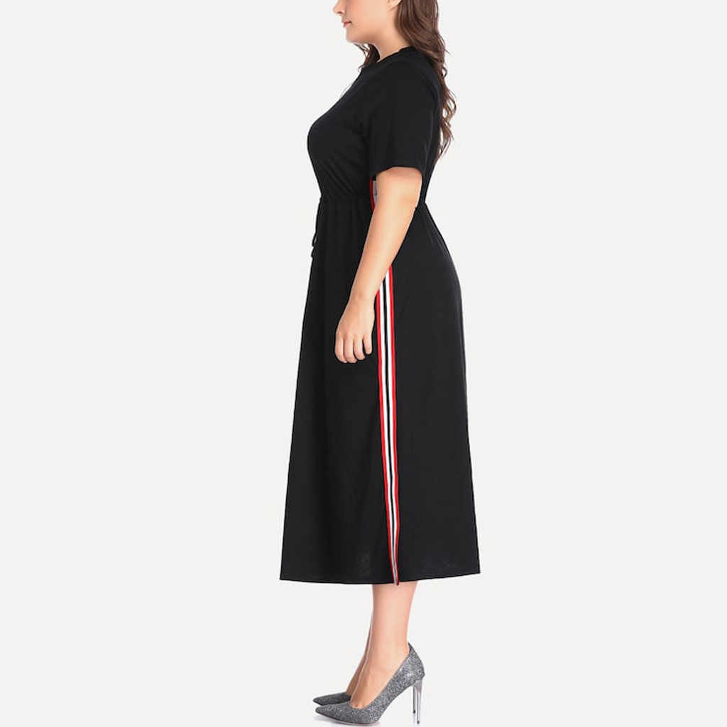 Womail 5XL büyük boy kadın siyah elbiseler moda artı boyutu Patchwork kısa kollu aped yan bölünmüş o-boyun elbise JUNE25 vestido