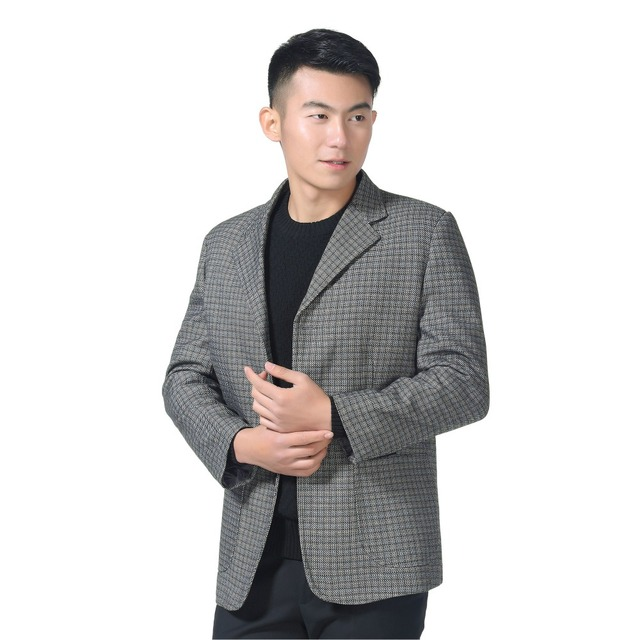 WAEOLSA Man Casual Blazer Gray Plaid Suit Jacket Little Check Blends Blazers Men Casual Suit Coat Male Outfits Blazers Spring XL