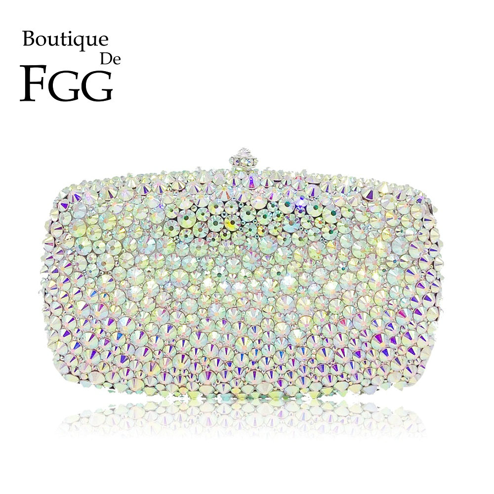 Boutique De FGG Dazzling Silver AB Crystal Clutch With Spikes Evening Handbag For Women Wedding Party Diamond Minaudiere Purses