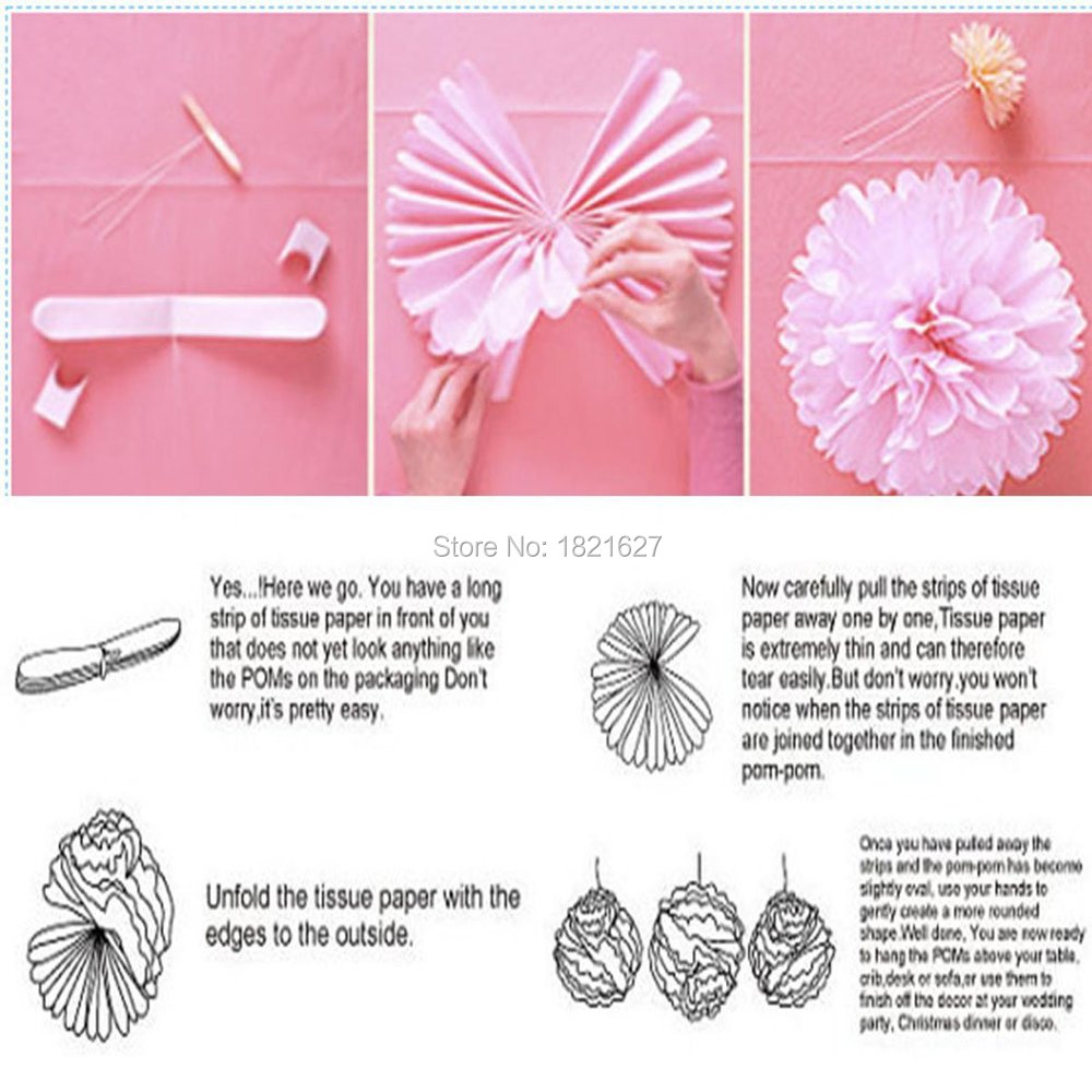 6pcs Mixed 10\'\' White Pink Gray Tissue Paper Pom Poms Flowers ...