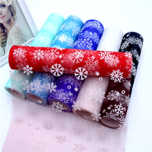 27cm X 10y Snowflake Glitter Flocking Snow Tulle Roll Organza Fabric Tutu Skirt Wedding Gift Party Supplies Decoration
