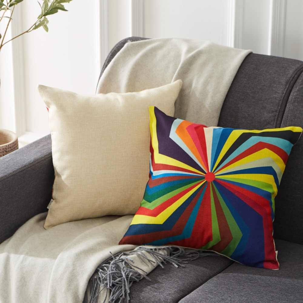 Topfinel Colourful Fodere per Cuscini Geometrico Decorativo Coperte e Plaid Caso Cuscini di Lino Cotone Creativo Decorazione Della Casa per Divano Seggiolino Auto