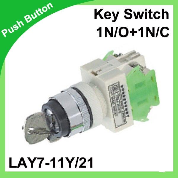 LAY7-11Y/21(Y090-11Y/21) Key Switch 22mm push button 1N/O+1N/C rotary switch key release 50/60 Hz