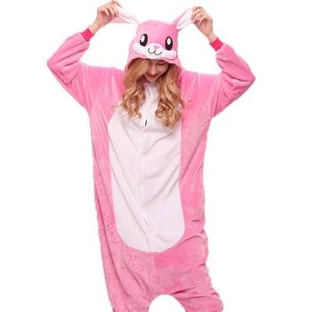 Adult Anime Kigurumi Onesies Pink rabbit Costume Women unicorn Cartoon Animal Easter Bunny Pajamas Sleepwear Flannel home Girl 1