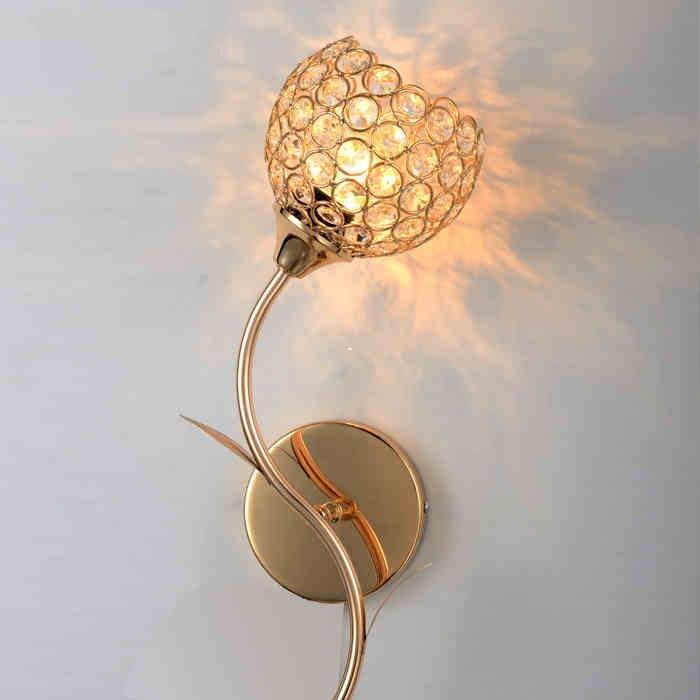 Applique en cristal de style européen double-tête grand salon fond applique interrupteur chambre lampe de chevet hôtel S or