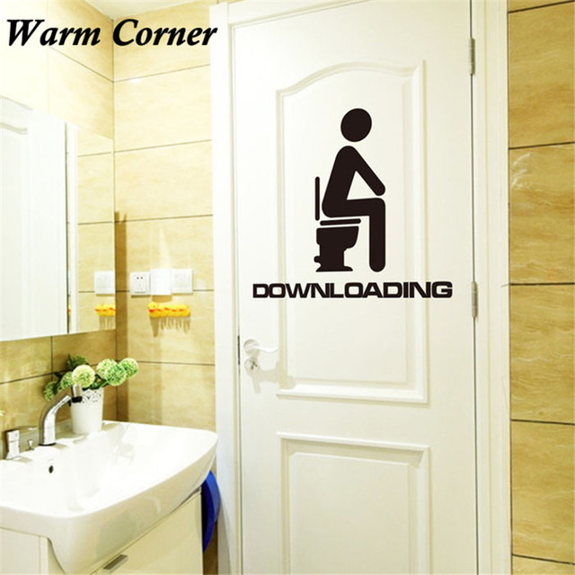 Warm Corner 2016 Hot Sales New Creative Toilet Waterproof Wall Sticker Toilet Glass Room Removable Sticker Free Shipping Aug 16