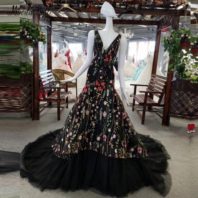 modabelle 2018 Black Long Mermaid Evening Dresses Rhinestone Crystal Sparkly Beaded Floral Mermaid Prom Wedding Party Dress