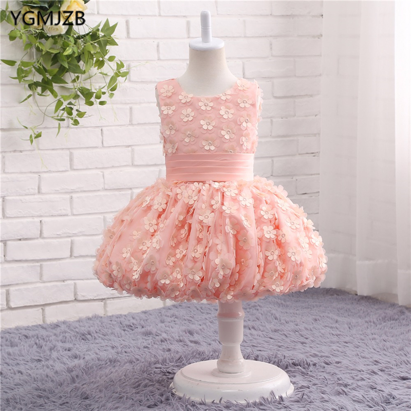 Lovely Pink   Flower     Girl     Dresses   Pageant Ball Gown Puffy   Flowers   Tank Sexy Children Images Prom   Dress   Kids Wedding Party Gown