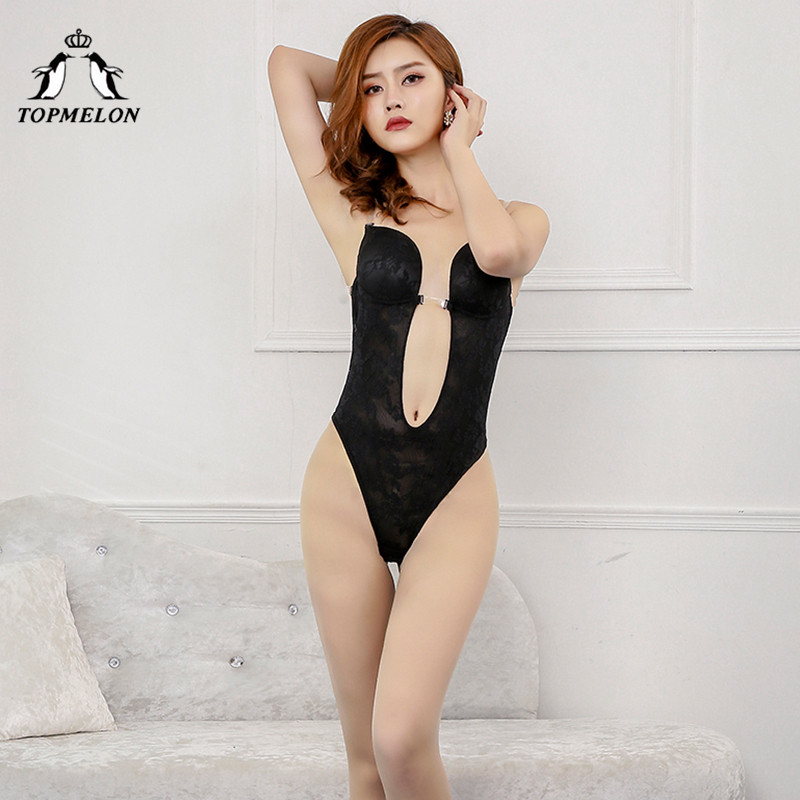 TOPMELON Invisible Bodysuit Shaper for Women One Piece Seamless Shapewear Backless Lingerie Bras for Dress Party Club