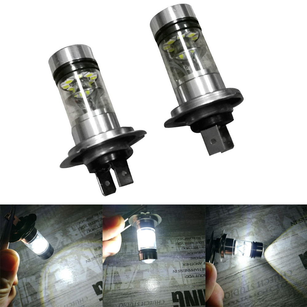 2018 Hot selling New Car styling 2X H7 6500K 100W 20LED HID White 2323 Fog Driving DRL Light Bulbs Vicky