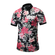 2017 Summer Flower Polo Shirts Mens Printing Camisa Slim Fit Trendy Fancy Top Fashion Unique Short Masculino Men Clothes Casual