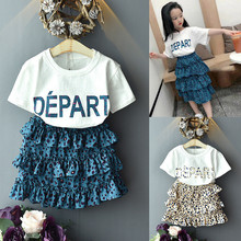 Toddler Kids Baby Girls Outfits Clothes Letter Print T-Shirt+Leopard Skirt Set цены онлайн