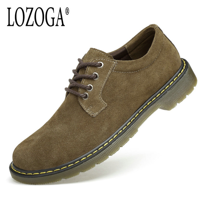 Lozoga Men Shoes Trending Casual Shoes Suede Leather Loafers Breathable Outdoor Size 44 Round Toe and Lace Up Brown and Green suede