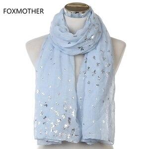 FOXMOTHER 2019 New Design Womens Fashion Shiny Foil Silver Sky Blue Pink Grey Dragonfly Hijab Scarf Shawls