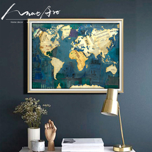 Arte pop moderno collage póster impreso mapa del mundo silueta vintage poster lienzo arte de pared azul vintage pintura clásica imagen