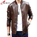 Men's Baseball Leather Jacket Stand Collar Thin Section Cultivating Young Men PU Coat Locomotive 2016 New Winter Plus Size M-4XL
