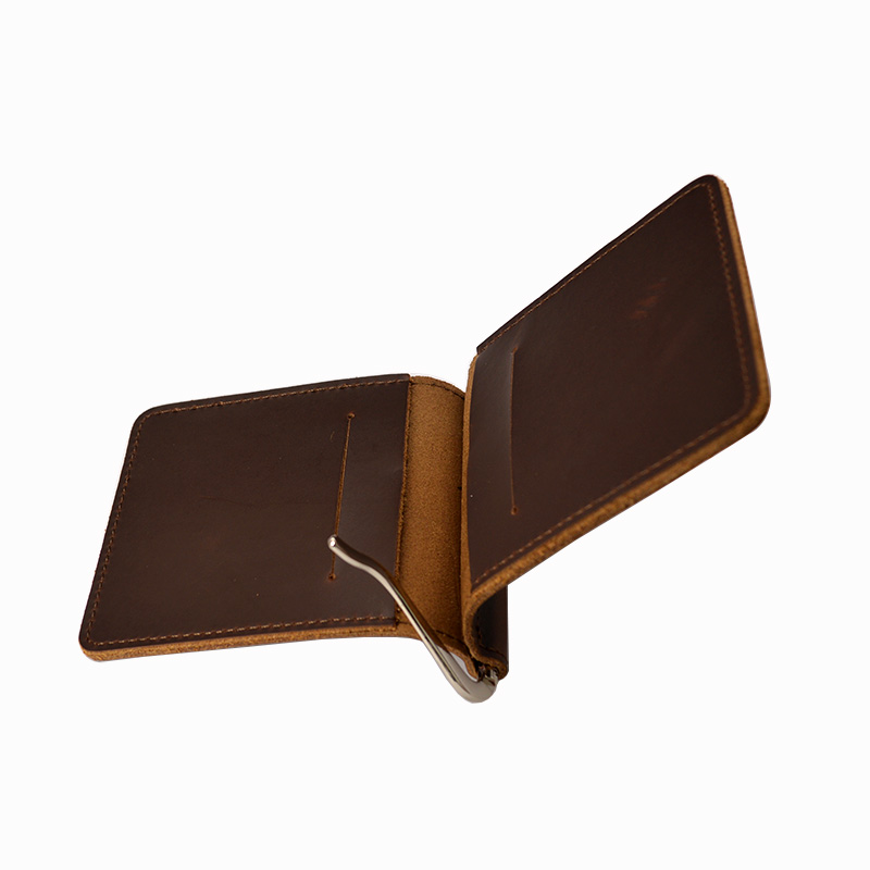 Handmade Leather Money Clip Wallet Male Card Cash for Money holder Vintage Minimalist Clip Wallet Men Metal Clamp for Money