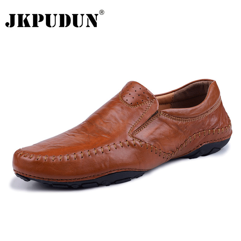 JKPUDUN Italian Mens Shoes Casual Brands Genuine Leather Men Loafers Luxury Moccasins Comfy Breathable Slip On Boat Shoes Men flat bottomed luxury mens loafers mark thread heel cover pedal leather strappy solid italian cowhide slip resistant soft leather