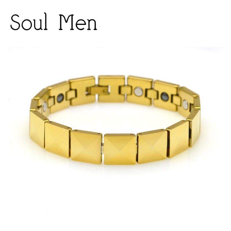 Bracelet en tungstène solide en or pour hommes avec pierre de soins de santé Germanium magnétique bijoux pour hommes lourds 7.9 pouces