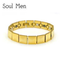 Soul Men Gold Solid Tungsten Bracelet with Magnetic Germanium Health Care Stone Heavy Weight Men Jewelry 7.9 inch
