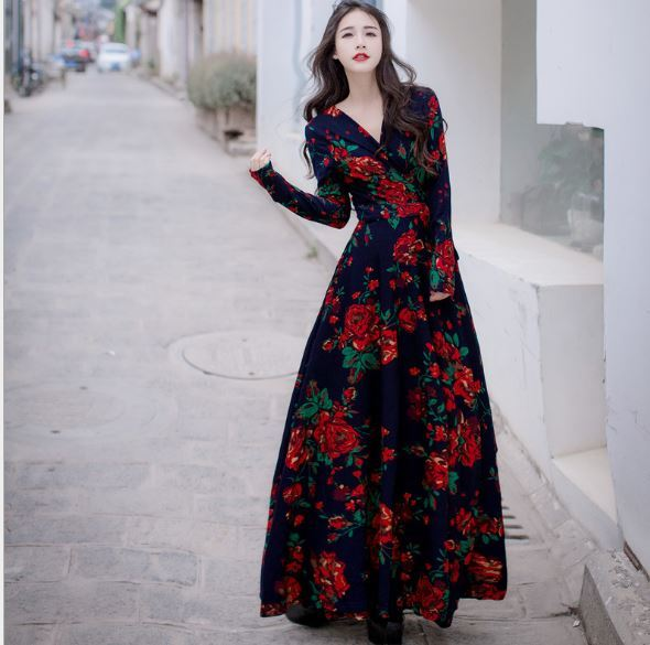 2018 Spring Fall Elegant Korea Las Clothing Women Vintage V Neck Fl Print Dress High Waisted Retro Long Sleeve Maxi In Dresses From S