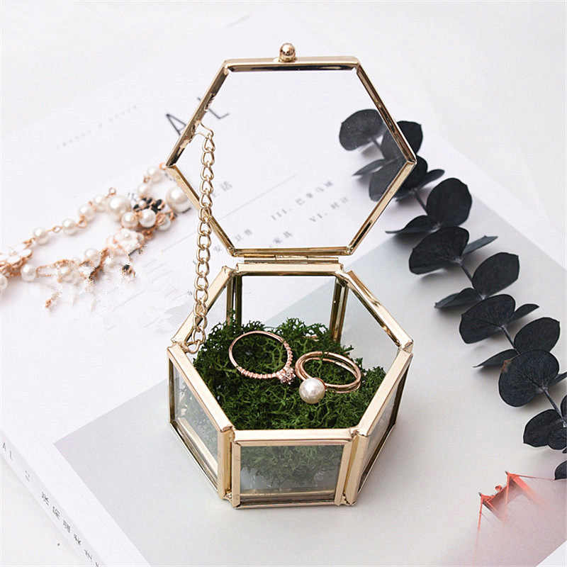 Jewelry Storage Box Ornaments Case Jewel Casket Wedding Ring Container Desktop Display Tabletop Succulent Plants Decor