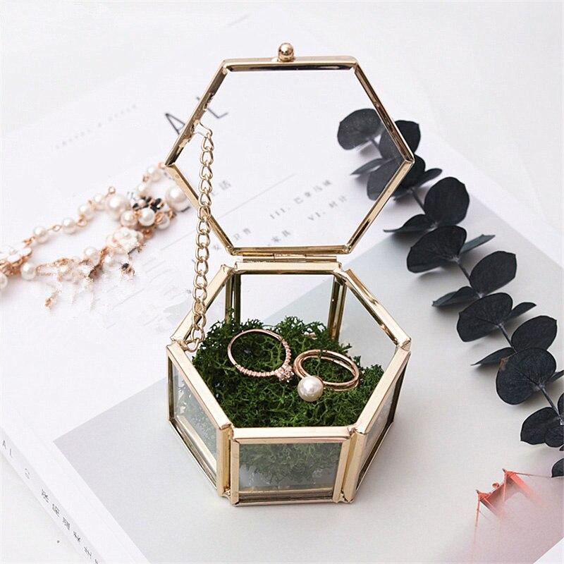 Jewelry Storage Box Ornaments Jewel Casket Wedding Ring Container Desktop Display Tabletop Succulent Plants Decor