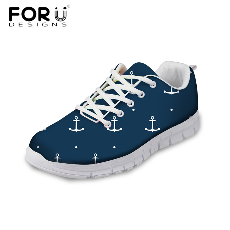 FORUDESIGNS Cute Cartoon Anchor Pattern Casual Flats Women's Comfortable Mesh Sneakers Female Lace Up Breathable Flat Shoes Girl forudesigns spring summer casual women sneakers cute happy chef pattern flats shoes woman fashion cartoon mesh shoes women flat